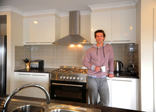 Rhys Tillack in his new kitchen