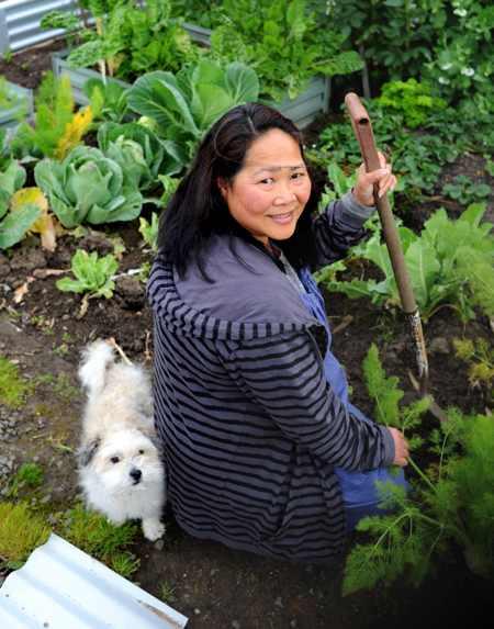 Erly Walker in her garden